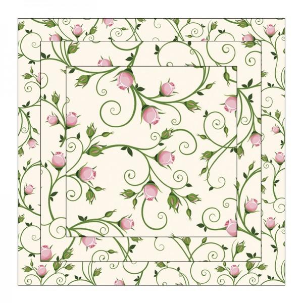 Faltpapiere, Duo-Design 3, 110 g/m², Blütenranken/rosé, 150 Stück