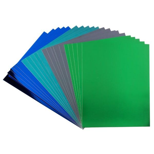 Spiegel-Karton, DIN A4, 200 g/m², je 5x grün, türkis, dunkelgrün, blau, selbstklebend, 20 Bogen