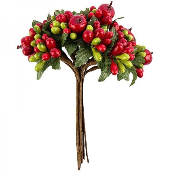 Beerenzweige, rot & grün, 11,5cm, rote & grüne Beeren mit grünen Blätter, 12 Stück