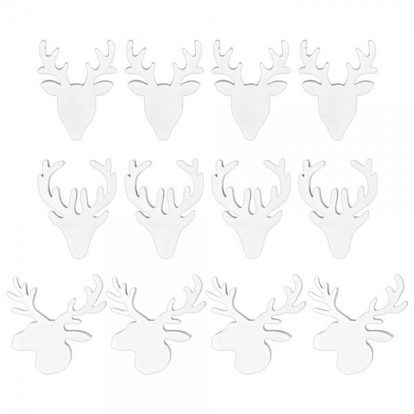 Hirschköpfe,verschiedene Designs, 4mm stark, weiß, 12 Stück