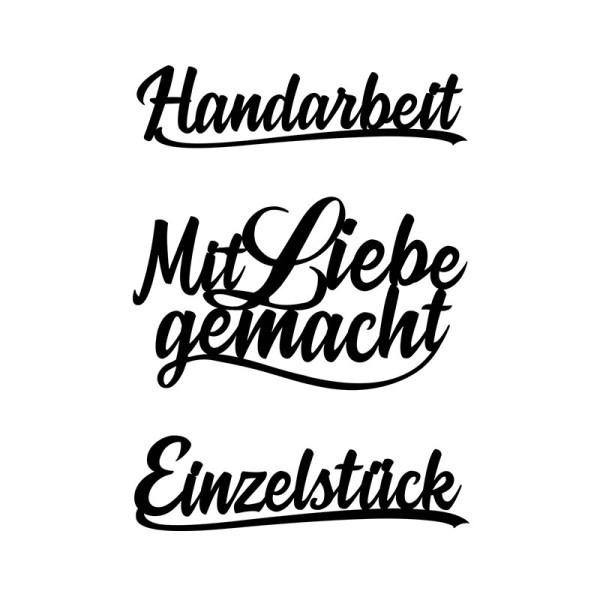 Stanzschablonen, Schriften, Handarbeit, 2,2cm bis 8,4cm, 3 Stück
