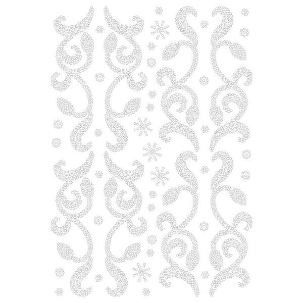 Bügelstrass-Design, DIN A4, klar, Blumenranken