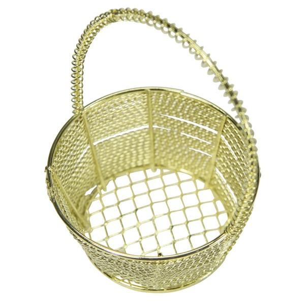 Edel-Drahtkörbchen, rund, Ø6,3cm, 7,5 cm hoch, 2 Stück, gold