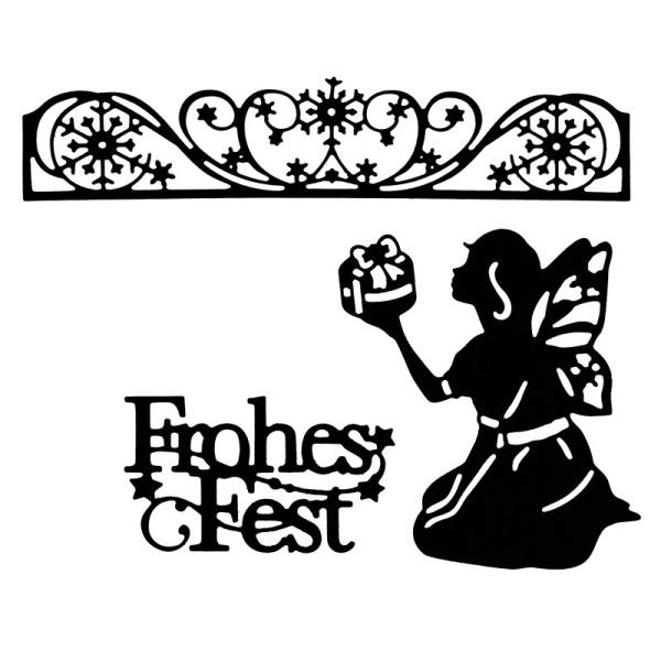 Stanzschablonen, Frohes Fest & Weihnachtselfe, 3 Stück