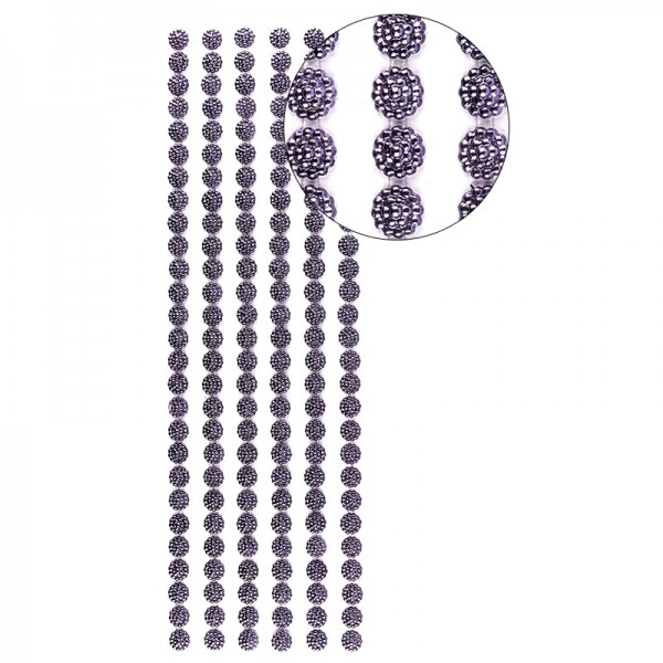 Halbperlen-Bordüren, Perlenblüte, 10cm x 30cm, selbstklebend, aubergine