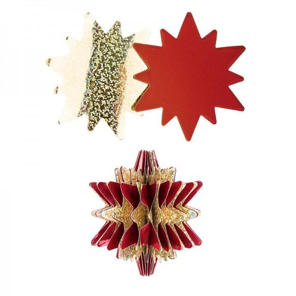Waben-Stanzteile, Stern, holografie-gold/dunkelrot, 7,5cm x 8,5cm, 100 Stück
