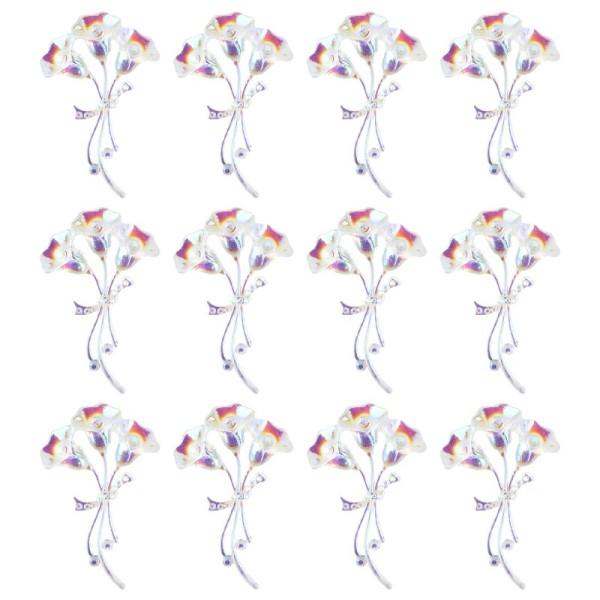 Kristallkunst-Schmucksteine, Blumenstrauß, 3,4cm x 5,5cm, transparent, klar, irisierend, 12 Stück
