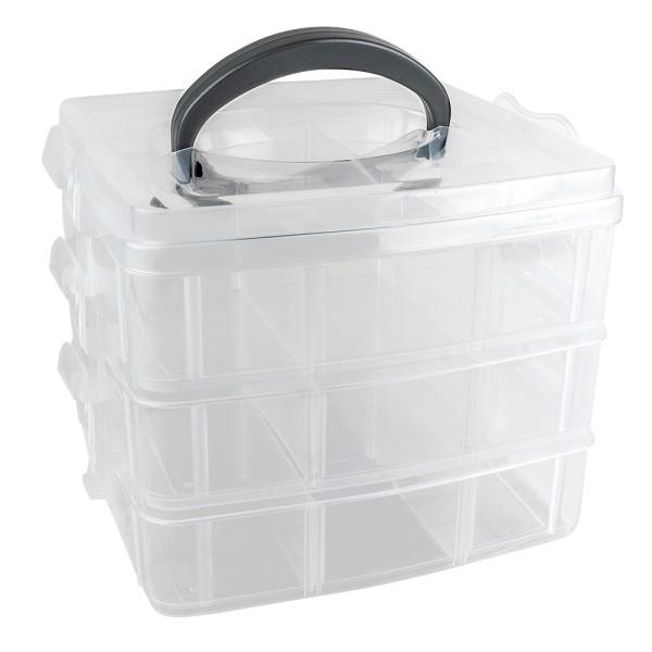 Sortier-/Aufbewahrungsbox mit Tragegriff, 16,5cm x 15,5cm x 13cm, 3 Ebenen mit je 6 Fächern