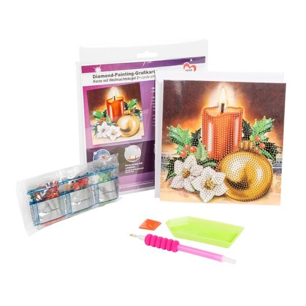 Diamond-Painting-Grußkarte, Kerze & Weihnachtskugel 2, 16cm x 16cm, inkl. Umschlag & Werkzeu