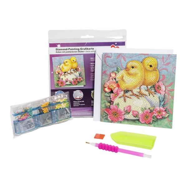 Diamond-Painting-Grußkarte, Küken mit pinkfarbenen Blüten, 16cm x 16cm, inkl. Umschlag & Werkzeug