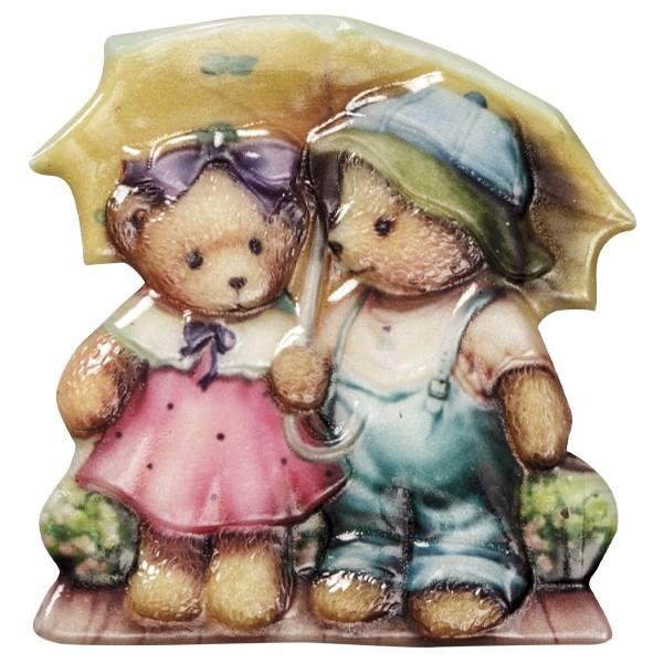 Wachsornament Teddy 3, farbig, geprägt, 7-8cm