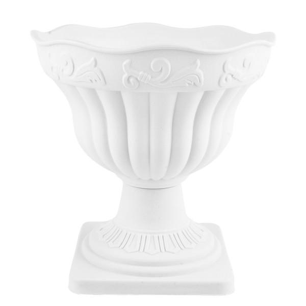 """Blumenspindel """"Neapel"""", außen: Ø 18cm, 18,5cm hoch, weiß"""
