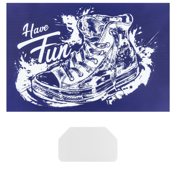 Siebdruckschablone Turnschuh, Have Fun, 32,5cm x 22,5cm, selbstklebend, inkl. Rakel