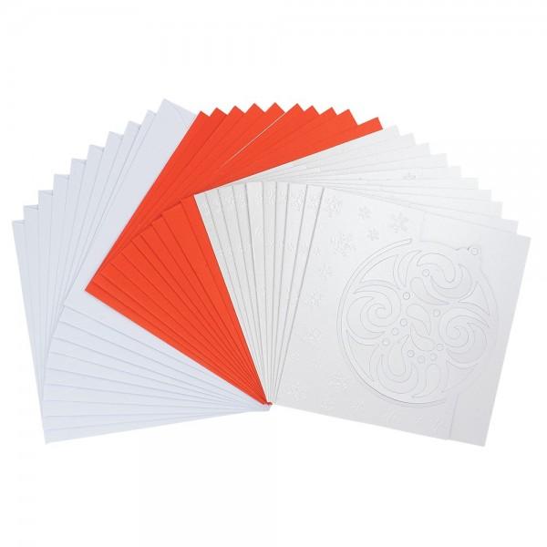 """Deluxe-Grußkarten, """"Weihnachtskugel 2"""", 16cm x 16cm, 10 Stück, inkl. Einleger & Umschläge"""