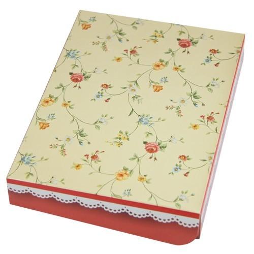 Geschenkbox, B6, Blütenranken, creme