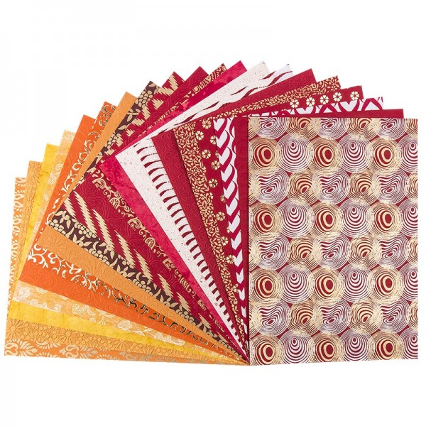 "Naturpapier Colours of India ""Mumbai"", DIN A4, rot/orange, 20 Blatt"