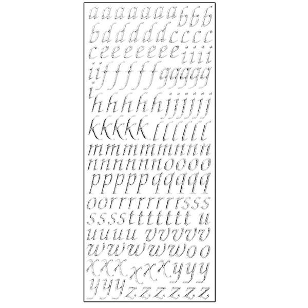Microglitter-Sticker, Alphabet, Kleinbuchstaben, silber