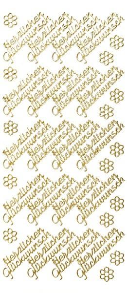 Sticker, Schrift, Herzlichen Glückwunsch, gold