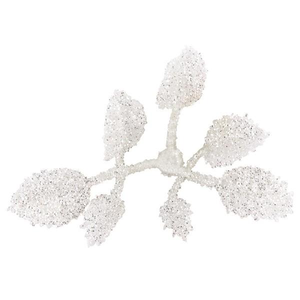 Deko-Blüten, Frosty 8, 30g, weiß mit Glitzer