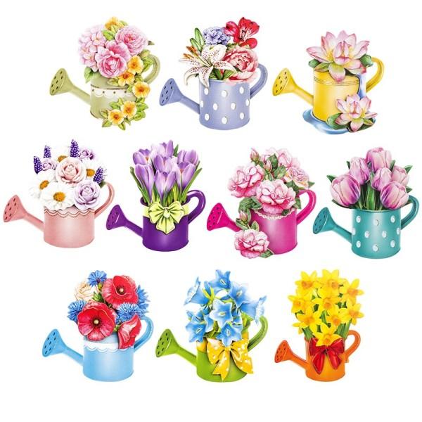 3-D Motive, Blumen in Kannen, 7-9cm, 10 Motive