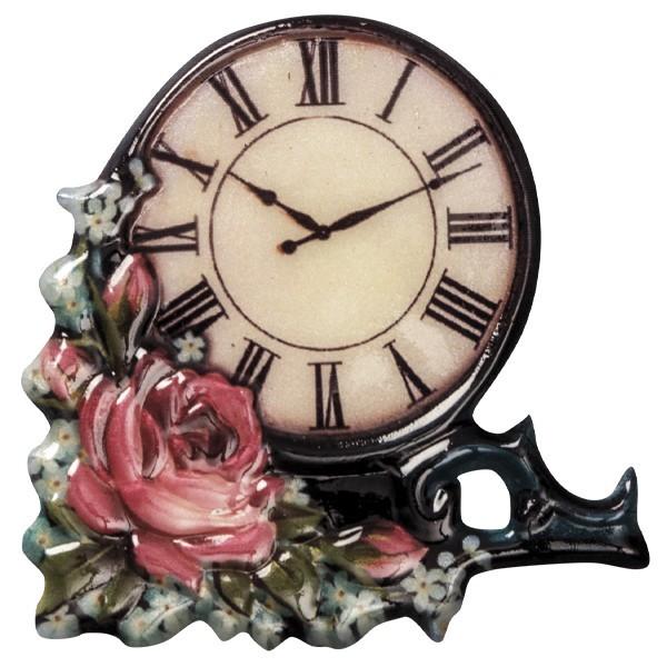 Wachsornament Uhr 3, farbig, geprägt, 7-8cm