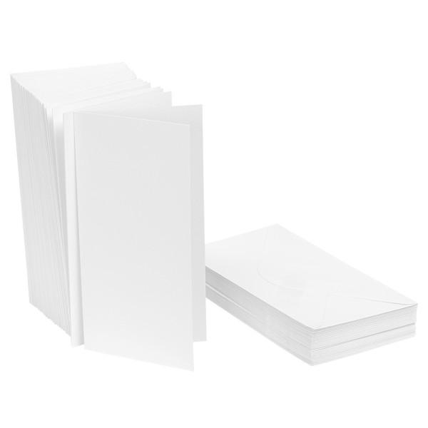 Klappkarten-Set, weiß, DIN lang 10,5cm x 21cm, 240g/m², inkl. Umschläge, 50 Stück
