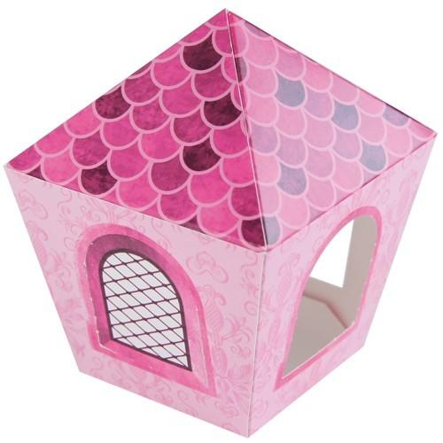 Deko-Laterne, Bastelbogen, 8x8x10cm, pink