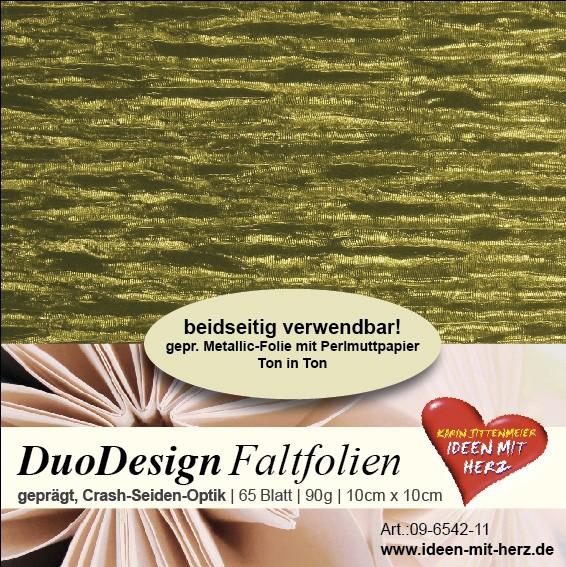 DuoDesign Faltfolien, Seiden-Optik, 10 x 10 cm, 65 Blatt, oliv