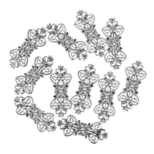 Metall-Ornamente, Design 1, 7,4cm x 3,1cm, silber, 11 Stück