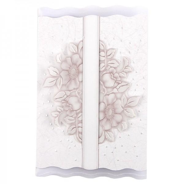 Exquisit-Grußkarten mit Top-Prägung, 16,9 x 10,9 cm, 10 Stück, weiß/rosé mit Transparentpapier