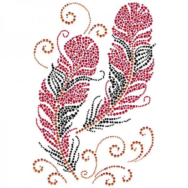 Bügelchaton-Design, DIN A4, mehrfarbig, Federn 4, rot/schwarz