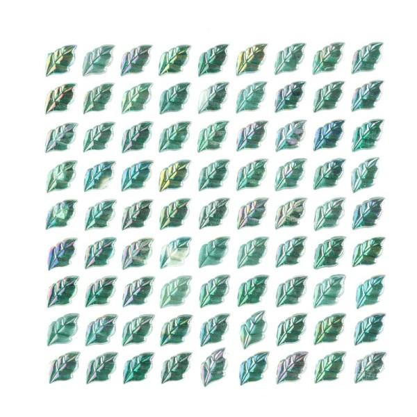 Glitzersteine, Blätter, selbstklebend, grün-irisierend, 11 mm, 81 Stück