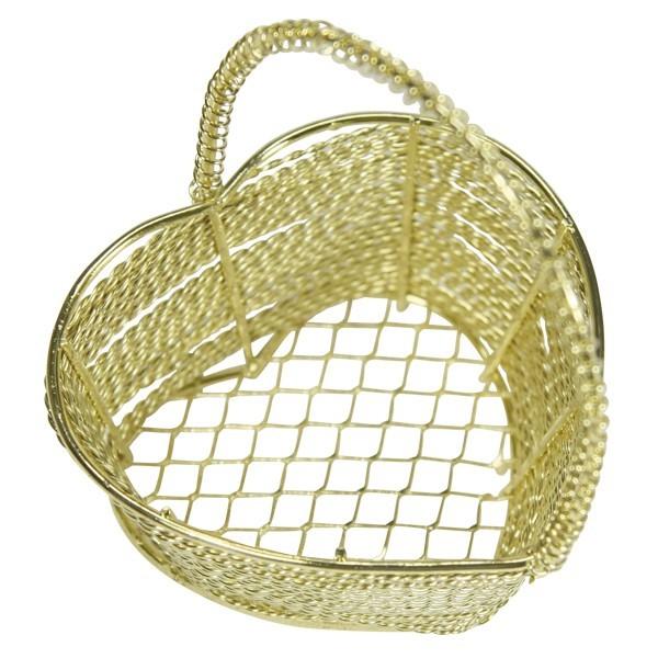 Edel-Drahtkörbchen, Herzform, 6,3x6,3x7,5 cm, 2 Stück, gold