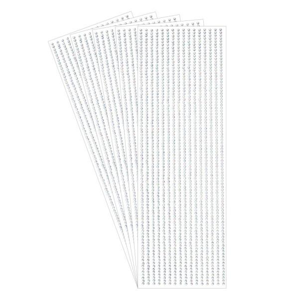 Schmuckstein-Bordüren, selbstklebend, facettiert, klar irisierend, Ø3mm, 5 Bogen