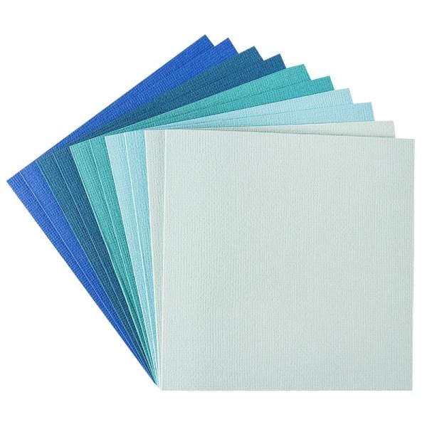 """Grußkarten """"Anna"""" in Leinen-Optik, 11x11cm, 5 Farben, Mint-/Blautöne, inkl. Umschläge, 10 Stück"""
