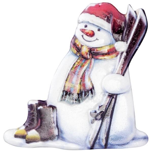 Wachsornament Lustige Schneemänner 5, farbig, geprägt, 7cm