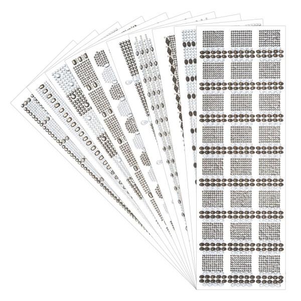 Schmuckstein-Bordüren Vielfalt, selbstklebend, 10 verschiedene Designs, 10 Bogen