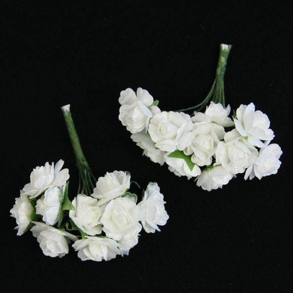 Deko-Rosensträußchen, 2 Sträuße á 10  Rosen, Weiß