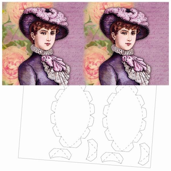 Prickel-Karte, Vintage-Portrait, inkl. Böden & Ecken, 16cm x 16cm