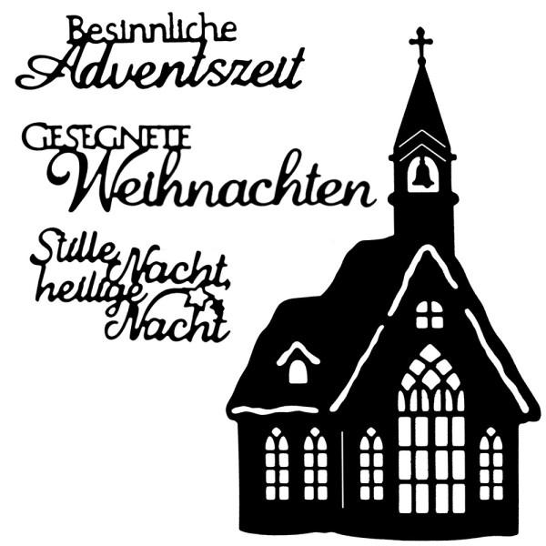 Stanzschabonen, Kirche & Weihnachtsgrüße, 4 Stück