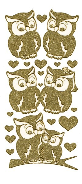 Microglitter-Sticker Eulen & Herzen, gold