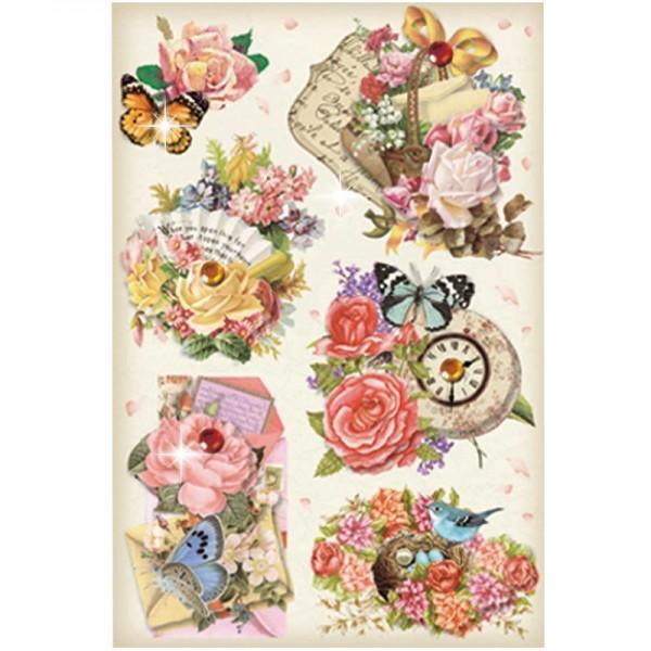 3-D Stickerbogen, Vintage-Blumen 7, 12,7 x 18,8 cm