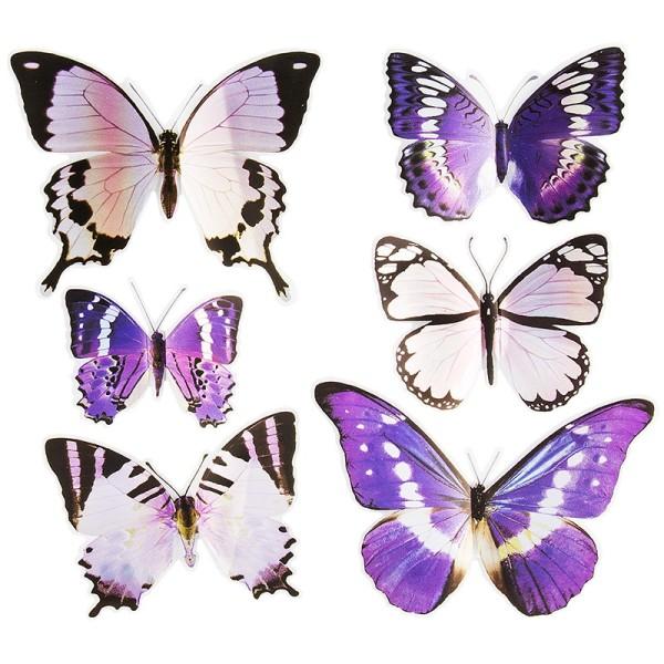 Pop-Up Sticker, Schmetterlinge 2, 19cm x 21cm, Lilatöne, 6 Sticker