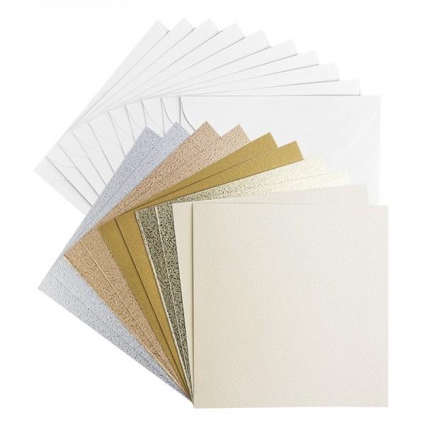"""Grußkarten """"Oslo"""", 16x16cm, 5 verschiedene Farben, inkl. Umschläge, 10 Stück"""