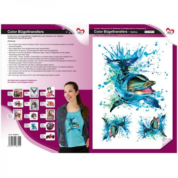 Color Bügeltransfers, DIN A4, Delfine