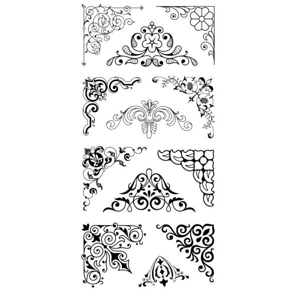 Feinkontur-Stempel, einzelne Motive auf Trägerfolie, Ecken