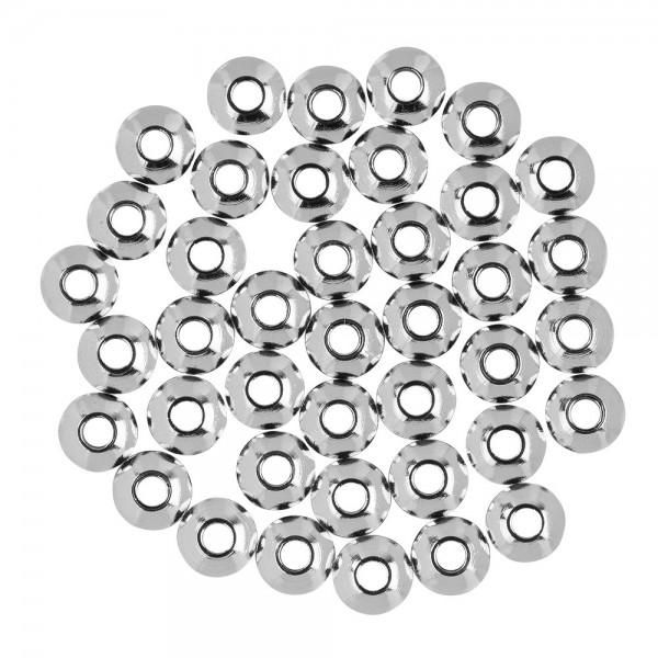 Perlen, Edelstahl, Scheibe, Ø 6mm, 3mm hoch, silber, 40 Stück