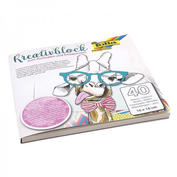 Kreativblock/Malbuch zum Ausmalen & Entspannen, 40 Motive, 16x16cm
