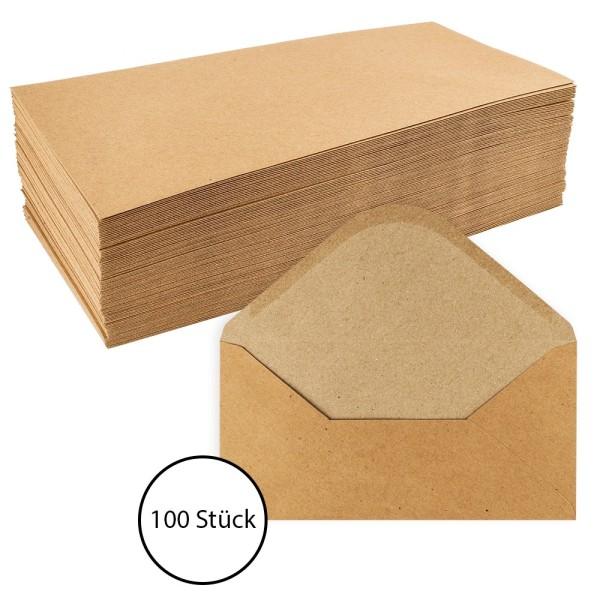 Umschläge, Kraftpapier, DIN lang (11cm x 22cm), 110 g/m², 100 Stück