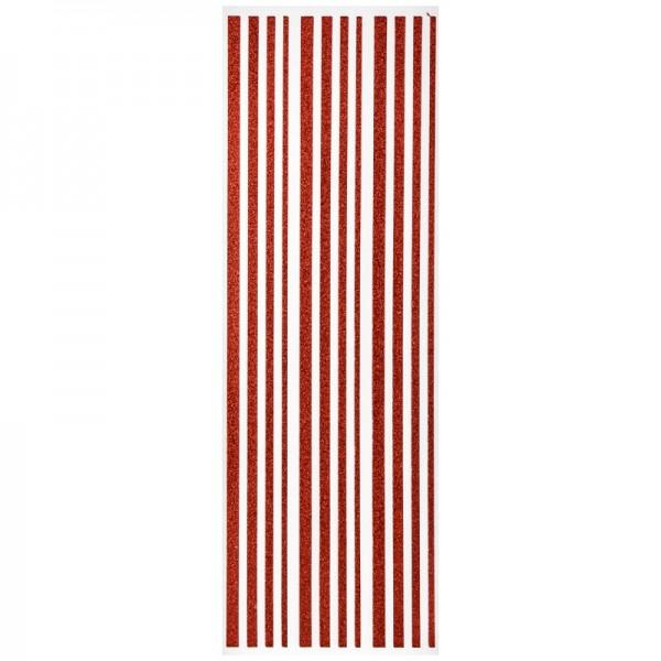 Glitzer-Bordüren, Sticker-Linien, 30 cm lang, 3-6 mm, rot